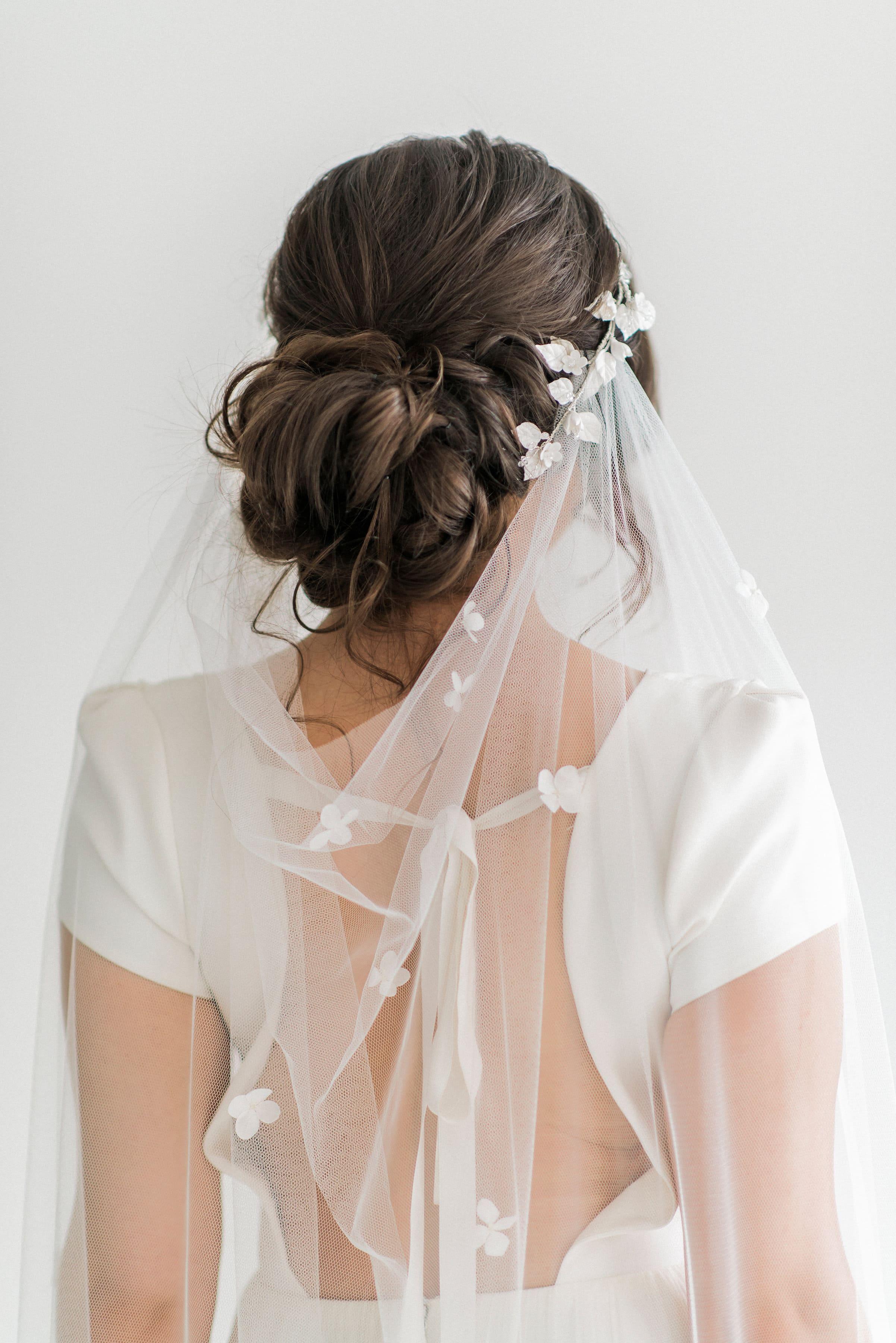 Julietta Draped Petal Wedding Veil Sash And Veil Artisan Veil Maker