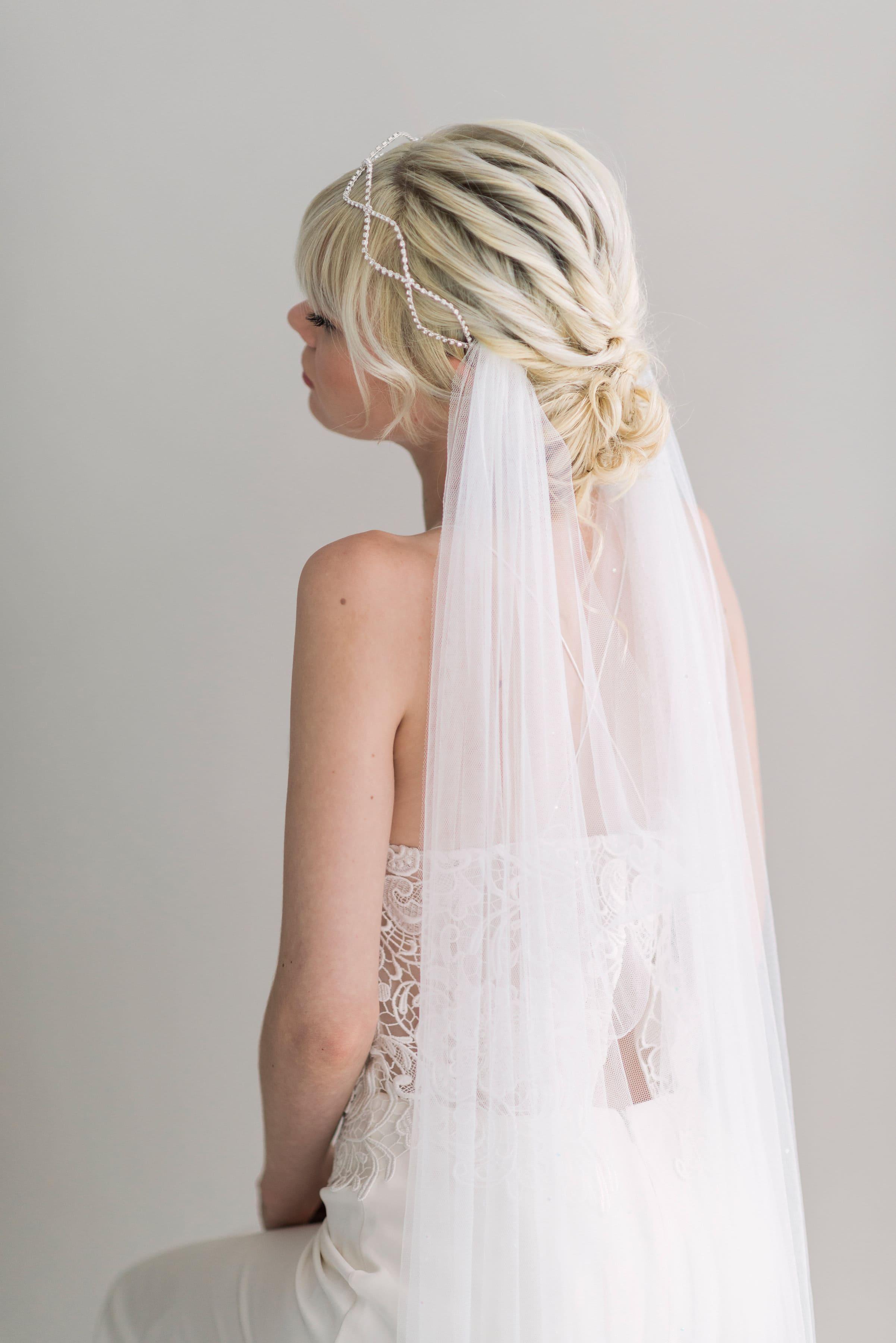 Amelia Draped Crystal Wedding Veil Sash And Veil Artisan Veil Maker